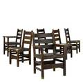 Gustav stickley six ladderback chairs two arm and four side signed 37 x 26 12 x 21 12