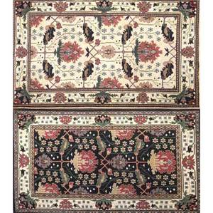 William morris style two contemporary floral carpets of similar pattern one on white ground the other on black 4 x 6