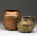 Dirk van erp two hammered copper vases one with rings cleaned patina closed san francisco windmill stamps one with remnants of darcy gaw 7 14 and 5 14