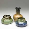 Fulper three vases in assorted glazes 1 bruise to rim of green all marked fulper or prang tallest 8 x 5