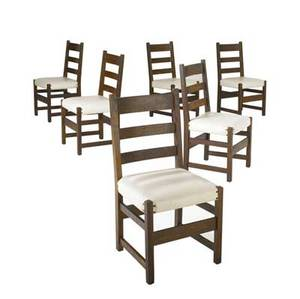 L  jg stickley set of six ladderback dining chairs no 360 with ivory vinyl seats work of decals 36 x 18 x 18