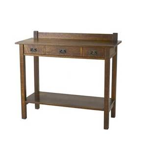 L  jg stickley server no 741 with three drawers and lower shelf work of decal 39 12 x 44 x 18