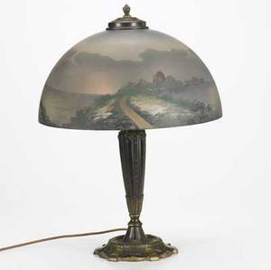 Pittsburgh table lamp with an obversepainted glass shade in european coastal scene over a bronzed twosocket base some chips to patina replaced caps minor chips to fitter unmarked 21 x 16