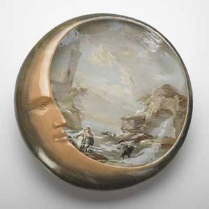 Emile galle large and unusual charger painted in barbotine with fishing villagers by the sea partly covered with a large moon crescent 1870s a couple of minor flecks to rim signed e  g e gall
