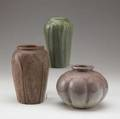 Hampshire three vases in green or plum matte glaze glazedover firing line inside tallest each stamped hampshire pottery 5 14 6 12 7 14