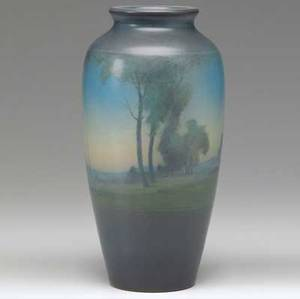 Rookwood scenic vellum vase painted by lenore asbury with a landscape at dusk 1921 flame markxxi614evla 8 34 x 4 12