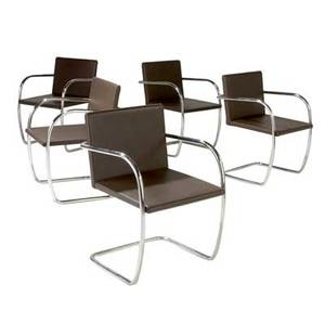Knoll set of five tubular steel armchairs with brown leather upholstery knoll inc labels 32 x 22 12 x 22 12