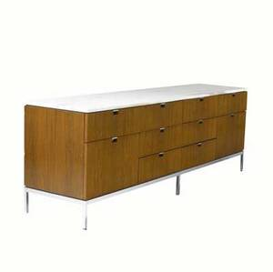 Florence knoll  knoll tendrawer walnut credenza with white marble top on chromed steel base 25 12 x 74 12 x 17 34