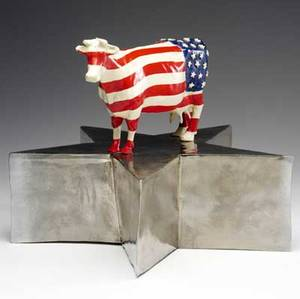 William lombardo glazed ceramic sculpture red white and blue cow 1970 provenance the derek mason and daniel jacobs collection 13 x 17 12
