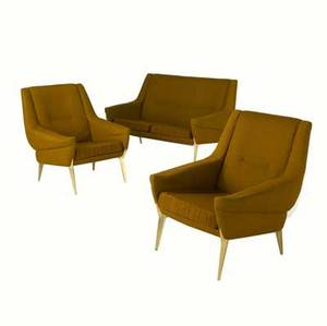 Danish modern threepiece furniture suite consisting of a settee and pair of matching armchairs with amber wool upholstery and polished brass feet settee 32 x 52 x 30 armchairs 32 x 30 x 30