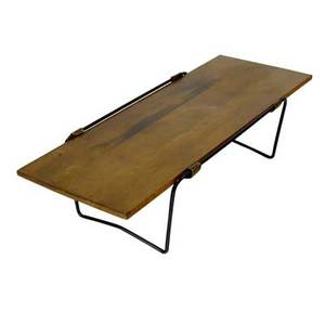 Arthur umanoff attr coffee table with maple top wrought iron base and leather support straps 12 x 48 x 18 34