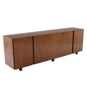 Stanley prowler walnut buffet with four doors two bifold and two single enclosing interior shelves 30 14 x 89 34 x 18