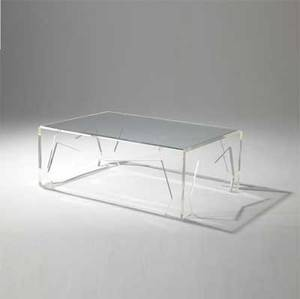Jeffrey bigelow coffee table with glass top on lucite base 16 x 44 x 30