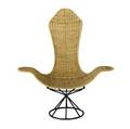 Style of erwin  estelle laverne tulip chair with woven cane seat and back on black iron base 50 14 x 45 14 x 19 14
