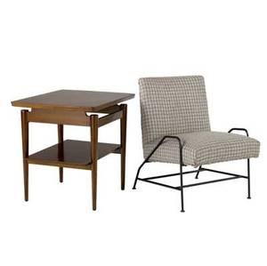 Jens risom walnut end table and upholstered chair on iron base risom decal to table table 24 x 27 x 20 34 chair 28 34 x 21 x 25