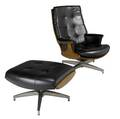 Heywood wakefield lounge chair and ottoman in oak with black vinyl upholstery heywood wakefield fabric tag chair 37 x 29 12 x 32