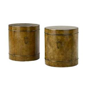 Mastercraft pair of burlwood veneer drumshaped cabinets with single door brass trim and drop pull 23 x 21 dia