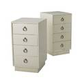 Modern pair of white lacquered fourdrawer chests with nickeled bronze drop pulls 33 12 x 18 x 20 12