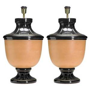 Decorative pair of table lamps their glazed ceramic bases with gilded bands and wide unglazed panels base 27 x 15 dia overall 39 x 24
