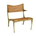 Style of dan johnson solid bronze armchair with caned seat and back 26 x 22 34 x 24