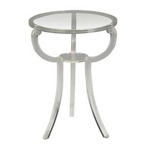 Elsie de wolfe  grosfeld house occasional table with glass top over fluted lucite base 28 x 20 dia