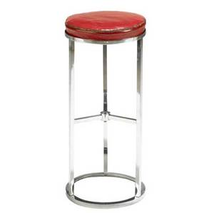 James mont stool with red leatherette top on chromed steel base james mont metal tag 28 x 12 14 dia