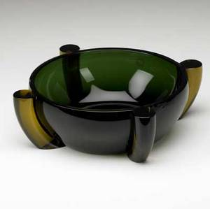 Marie tina aufiero  venini alboinorosmunda low bowl in dark green glass with amber buttresses 1995 signed and dated also with venini clear label 3 12 x 11 14