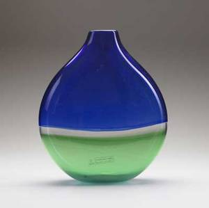 Lino tagliapietra  effetre international glass pillow vase with cobalt green and clear layers 1988 etched on bottom lino tagliapietra 1988 murano also with effetre international and vetri muran