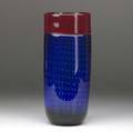 Art glass incalmostyle vase in red cobalt and dark green with controlled submerged bubbles possibly murano 11 12 x 4 34