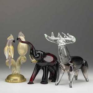 Murano three figural glass sculptures of an elephant moose and pair of cockateils on a branch 8 14 x 9 12 9 x 8 12 and 9 x 4