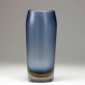 Venini tall inciso glass vase in steel blue and amber sommerso threeline acid stamp venini murano italia 12 34 x 5 12