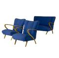 Italian threepiece furniture suite consisting of a settee and two matching armchairs upholstered in royal blue fabic on lacquered and sculpted beech frames settee 33 x 50 x 32 chairs 31 x 24