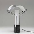 Arteluce palio table lamp with chromed steel diffuser over milk glass panels embossed mark also flos usa paper label 16 x 13 12 x 6 34