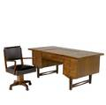 Italian eightdrawer teak desk with open cubicle to back accompanied by desk chair desk 30 x 69 x 34 chair 35 x 23 12 x 22