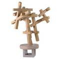 Will gianotti painted wood abstract sculpture with juxtaposed cruciform components 67 x 46 x 48