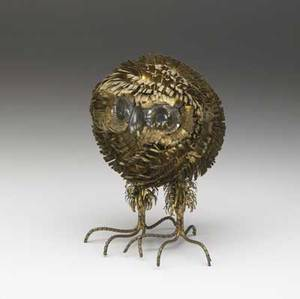 Style of curtis jere small mixedmetal owl sculpture 6 12 x 4 14