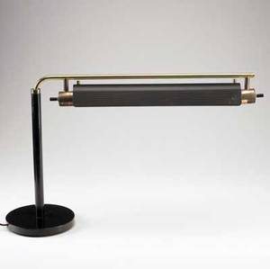 Art deco black enameled metal and brass adjustable desk lamp 17 x 28 x 17 12
