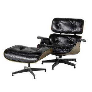 Charles and ray eames  herman miller 670671 lounge chair with matching ottoman in rosewoodfaced plywood with black leather cushions 30 x 33 x 30