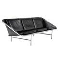 George nelson  herman miller sling sofa with black leather cushions on chromeplated steel frame rubber support embossed elasta seat 29 x 86 x 29