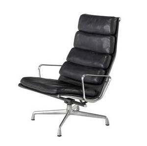 Charles and ray eames  herman miller highback soft pad chair with black leather upholstery on swivel base 38 14 x 26 x 29 12