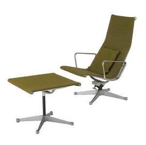 Charles and ray eames  herman miller aluminum group tallback chair with matching ottoman upholstered in olive green wool embossed mark chair 39 x 26 x 29