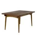 Hans wegner teak dining table with a 19 12 pullout leaf at either end open 28 14 x 93 12 x 35 12