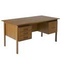 Hans wegner  johannes hansen teak desk with three open cubicles to back johannes hansen metal tag 28 12 x 56 12 x 29