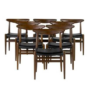 Hans wegner  cm madsen set of eight teak dining side chairs with black vinylcovered seats branded mark 29 12 x 22 x 16