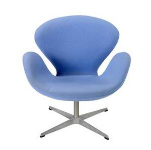 Arne jacobsen  fritz hansen swan chair with powder blue wool upholstery on steel base fritz hansen label 30 34 x 29 x 26