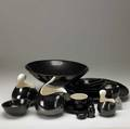 Eva zeisel fifteenpiece assorted set of town and country dinnerware covered in dark brown metallic glaze largest bowl 4 x 13 12