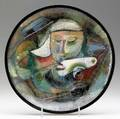 Pillin glazed ceramic plate with woman and bird signed pillin 1 12 x 11