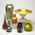 Art glass assorted group lot of seven pieces six vases and one centerbowl with gold interior bowl 6 34 x 12 12