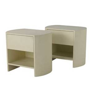 Style of karl springer pair of singledrawer end tables covered in lacquered linen 26 12 x 30 x 20