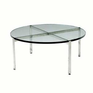 Harvey probber coffee table with plate glass top on polished steel xbase 15 12 x 35 12 dia